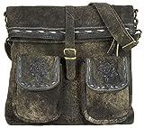Domelo Damen Tasche braune große Ledertasche Dirndltasche Umhängetasche Trachtentasche aus weiches Leder