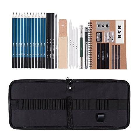 AGPTEK 34Pcs Kit de Croquis Dessin Kit d'Art élémentaire Professionnel Avec Carnet de Croquis et Sac de Rangement, Excellent Cadeau pour Les débutants, etudiants, enfants