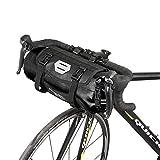 Roswheel 7L Borsa manubrio 100% impermeabile Φ15 x H40cm ciclismo Cestino anteriore per bicicletta City Bike Borsa da manubrio poliestere con un interfaccia luce anteriore della bicicletta e un sport asciugamano freddo (Nero)