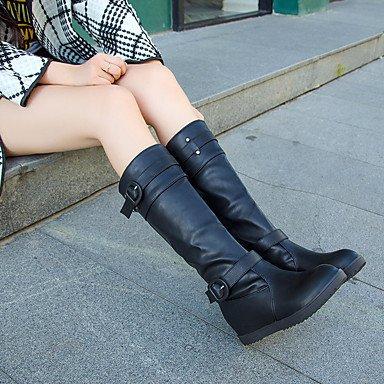 RTRY Donna stivali inverno Comfort Pu Casual fibbia tacco piatto marrone piatto nero US8.5 / EU39 / UK6.5 / CN40