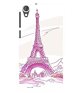 printtech Paris Tower Sketch Cartoon Back Case Cover for HTC Desire 820::HTC Desire 820Q::HTC Desire 820S