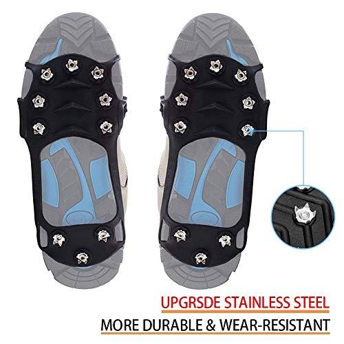 wirezoll para Zapatos, Kiesel Gel Antideslizante través Zapatos/Zapatillas 10Tacos Nieve Crampones Tacos Pinchos, Zapatos Garra, Hielo Pikes, Color Negro, tamaño Extra-Large