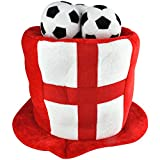Puregadgets © England Supporters Football Worldcup 2018 Large Three Lions (3 Lion) Three Ball Top Hat with St George Flag for the Real England Supporter Fan Hat Russia World Cup
