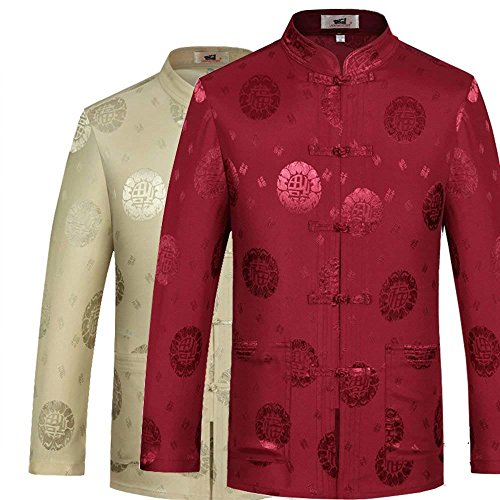 ZooBoo Chinesische Kleidung Tang-Stil Jacke - Traditionelle Tangzhuang Kostüme Jacket Farben Kampfkunst Kung Fu Tai Chi Lange Ärmel Oberhemd Outfit Uniform für Männer Frauen - Brokat (S, Rot) (Seide Chinesisches Kung Fu Kleidung)