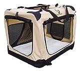 Bild: Transportkäfig für Hunde faltbar Stoff Beige 70 cm IsofixHalteösen für Autos für den ultimativen Schutz