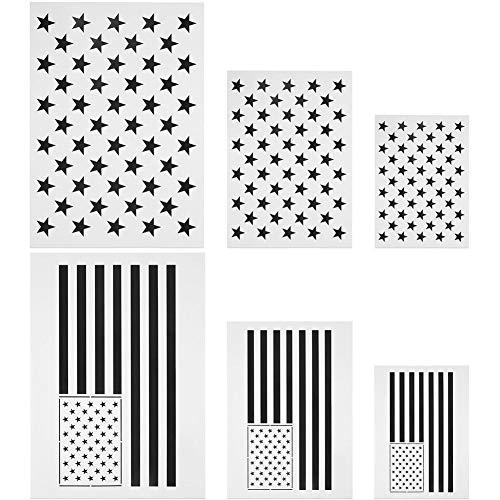 funny feng Amerikanische Flagge Schablonen, Ladash 6 Stück Sternschablone 50 Sterne USA-Flagge und Karte der Vereinigten Staaten für das Malen auf Holz, Stoff, Airbrush, Papier, Wand, mehrere Größe