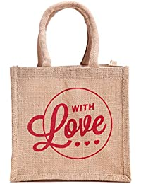 H&B Beautiful, Trendy & Stylish Beige Color Jute Handbag/Quality Lunch Bag/ Gift Bag, Love Bag For Valentine Gift... - B078YPG6B5