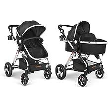 besrey Silla de Paseo Cochecito para Bebé (Nego/Gris)Carrito Baby Jogger Carriage