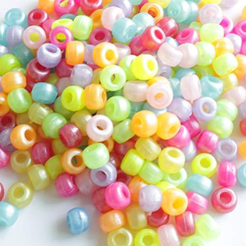 Toyvian Kunststoff Lose Perlen Sets DIY Perlen Kits Kinder DIY Halsketten Armband Schmuck Handwerk Machen Großes Loch Perlen (1000 stücke - Mischfarbe)