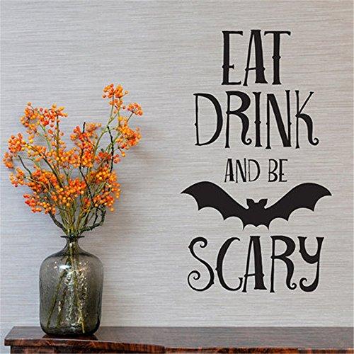 Wandaufkleber Zitate Decals Dekor Vinyl Kunst Aufkleber Halloween Bat Zitate Essen trinken oder Scary Halloweens Zitate Kunst Dekor