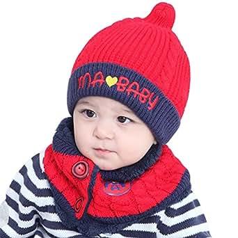 Cappello del bambino, Cappello Inverno Bambino, Unisex Bambino Sciarpa Cappello Cappelli (Rosso)