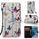 Ooboom® Coque pour Samsung Galaxy A3 2016 Housse 3D PU Cuir Flip Cover Étui Wallet Case avec Supporter Fermeture Aimantée Dragonne - Papillon Coloré