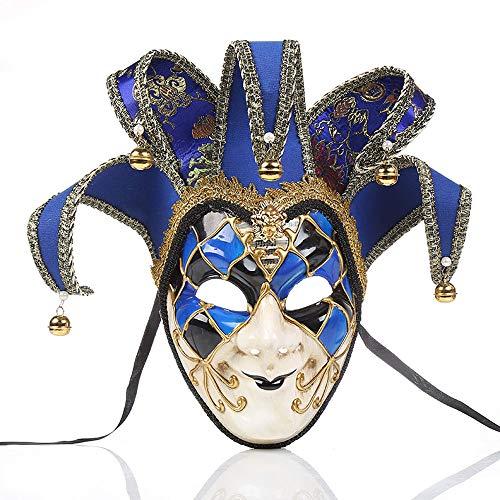 YCWY Masken von Venedig, Vollgesichtsmaske Karneval Maske handgemachte venezianische Partei Karneval Kostüm Maskerade Maske Joker Maske,Blue (Karneval Im Zusammenhang Kostüm)