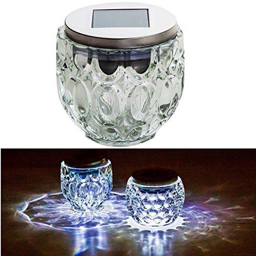 esto24® LED Solar Tischleuchte mit Lichtsensor Edelstahl Glas Solarleuchte Farbwechsel Oder Weißes Licht (Ø 9,0 cm und 10 cm Höhe) -
