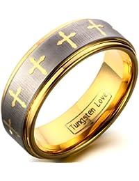 JewelryWe joyas para hombre carburo de tungsteno Anillo, con Celta cruz, pareja anillos de matrimonio, Colour oro…
