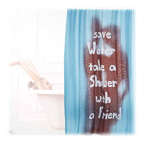 Relaxdays Duschvorhang türkis SAVE WATER Motiv, waschbar, Textil, Aufdruck, H x B: 200 x 180 cm, Wannenvorhang, blau