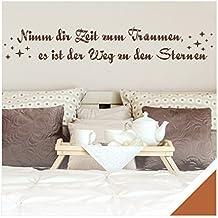 Exklusivpro Wandtattoo Spruch Wand-Worte Nimm dir Zeit zum Träumen, es ist der Weg zu den Sternen. mit SWAROVSKI (zit02 haselnussbraun) 150 x 26 cm mit Farb- u. Größenauswahl