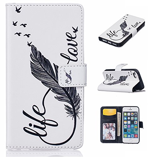 Linvei Handytasche for Huawei P9 flip leder handyhülle mit Bunte Printing Muster Wallet Case und TPU Inner Backcover Color 4