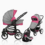 Bebebi Florenz | Hartgummireifen in Weiß | 3 in 1 Kombi Kinderwagen | Farbe:Davanzati Pink Black