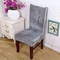 DANSPEED Stretch Dining Room Grey Chair Covers Removable Flexible Velvet Short Protector Slipcovers For Home Office