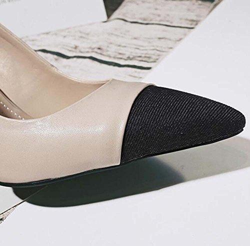 Onfly Dame Spitz Leder Pumps Schlange geformte Ferse Perlendekoration High Heels Schuhe Scarpin Ol Arbeit Gericht Schuhe apricot