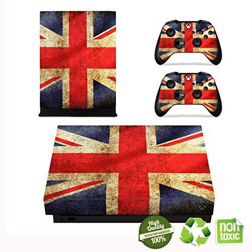 Xbox One X Skin Sticker, Morbuy Designfolie Vinyl-Folie Aufkleber für Konsole + 2 Controller Aufkleber Schutzfolie Set (Vintage britische Flagge) -
