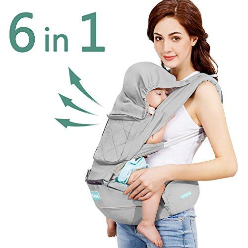 Windsleeping Portabebé Ergonómico,Mochila Portabebes con capucha para todas las estaciones,Algodón Puro Ligero y Transpirableapto para bebés, niños pequeños y recién nacidos - Gris