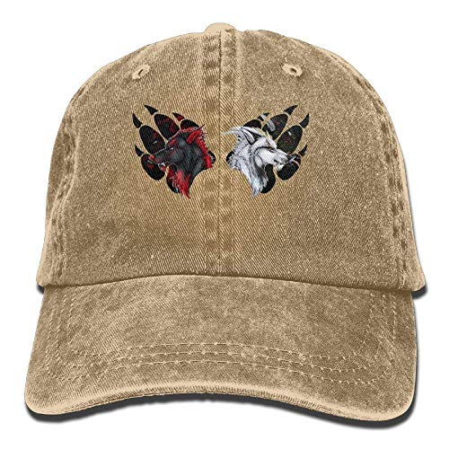 Presock Red Wolf and White Wolf in Claws Denim Hat Women Great Baseball Hats