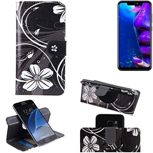 K-S-Trade® Schutzhülle Für Allview Soul X5 Pro Hülle 360° Wallet Case Schutz Hülle ''Flowers'' Smartphone Flip Cover Flipstyle Tasche Handyhülle Schwarz-weiß 1x