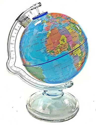 "Bellaa Blue World Globe Stand Educational Learning Rotating Desktop Globe - Perfect for Kids, Geography Students, Teachers - Kids Money Bank Edu-Toys 6.7 "" Desktop Political Globe,Save The World Coin Bank"