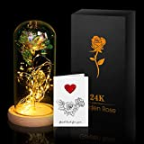 ANBET Beauty And The Beast Rose, Oro Rosa 24K in Cupola di Vetro su Base in Legno con Biglietto di Auguri Regalo per San Anniversario Festa della Mamma