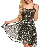 Zeagoo Damen Chiffon Kleid Strandkleid Blumen Druckkleid Bandeaukleid Floral Sommerkleid Spaghetti Trägerkleid, Grün, 40 (Herstellergröße : L)