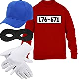 Kids Panzerknacker Kostüm Pulli + MÜTZE + Maske + Handschuhe Kinder Pullover Sweatshirt XL 152/164 Rot