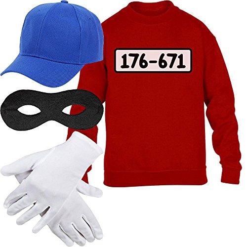 Kids Panzerknacker Kostüm Pulli + MÜTZE + Maske + Handschuhe Kinder Pullover Sweatshirt L 134/146 Rot
