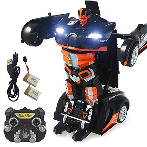 2.4Ghz Transformer Remote Control Car � Talking Auto Bot RC Drifting Car & Robot - Sound FX Lights � One Touch Transform - PL9131 Rechargeable Radio Controlled RC Car, Orange
