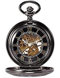 Treeweto - Reloj de bolsillo esqueleto mecánico de cobre tipo Steampunk, colgante romano retro