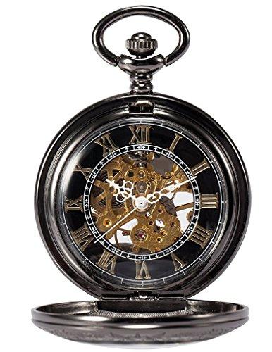 TREEWETO Retro Mechanische Taschenuhr Skelett Uhr Römische Ziffern Spezielle Lupe Design Taschenuhren mit kette und Geschenkbox