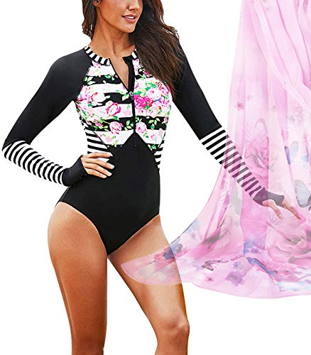 Dynamic H Bathing Suit Womens Floral One Piece Rashguard Swimsuit Zip Front Surfing Long Sleeve Sun Protection Swimwear Novel Design; In