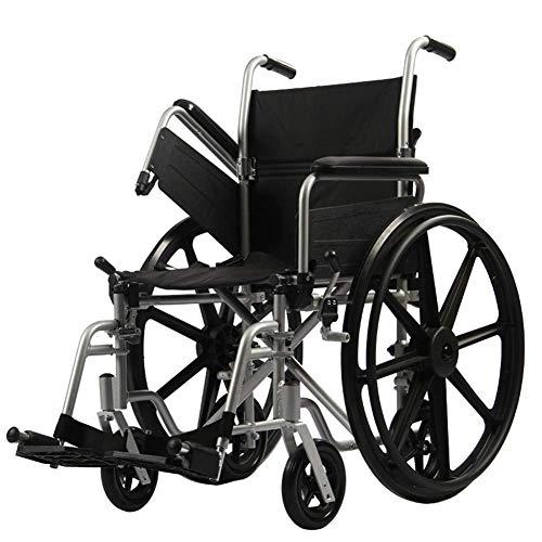 Behinderte Ältere Menschen Handschieben Ultraleichter Rollstuhl für Erwachsene Klappbarer Transportrollstuhl mit Handbremsen Einfache Übertragung Geeignete Ältere Menschen mit Behinderung (Schwarz) ,
