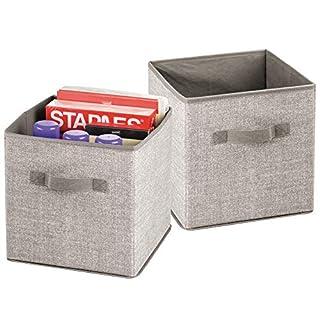 mDesign 2er-Set Aufbewahrungsbox mit Griffen – kleine Regalbox für Büromaterial wie Aktenordner und Druckerpapier – Stoffkiste für Büro, Atelier, Studio etc. – beige
