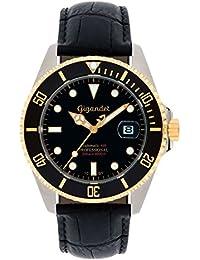 Gigandet Automatik Herren-Armbanduhr Sea Ground Taucheruhr Uhr Datum Analog Lederarmband Schwarz G2-018