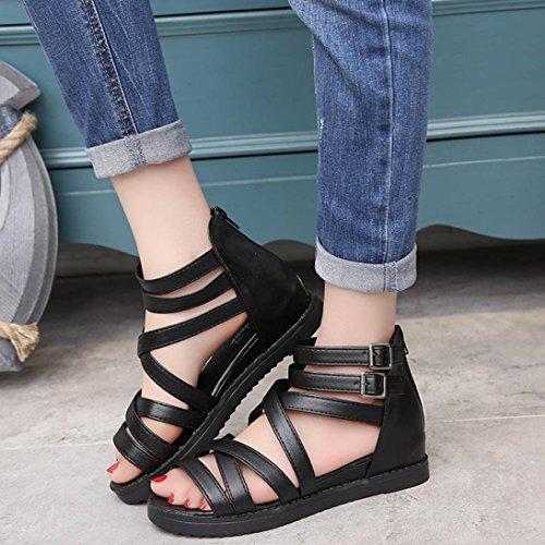 Transer® Damen Sandalen Niedrige Ferse Römische Gürtel Netz PU-Leder+Gummi Schwarz Weiß Sandalen (Bitte achten Sie auf die Größentabelle. Bitte eine Nummer größer bestellen) Schwarz