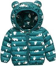 FEOYA - Bebés Chaqueta Acolchada para Invierno de Manga Larga Abrigo Ligero con Capucha de Orejas Estampados L