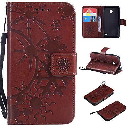 Ycloud Einzigartig PU Leder Tasche für Nokia Lumia 635 Wallet Flipcase mit Standfunktion Kartenfächer Entwurf Sternenhimmel Prägung Braun Hülle