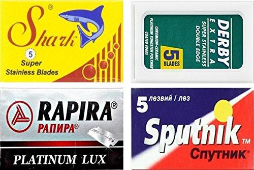 20 Rasierklingen Sampler Derby, Shark, Rapira, Sputnik