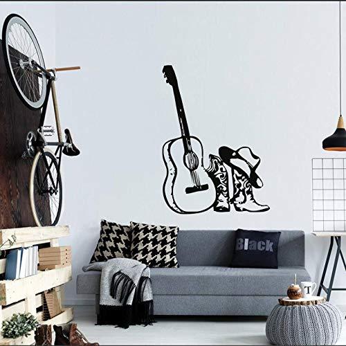 Música Guitarra y Sombrero Botas Vinilo Pared calcomanía Estilo de Moda Decorativo Pared Pintura Pegatina...