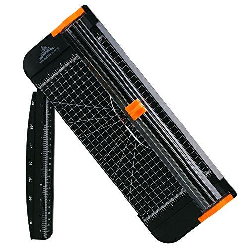 Preisvergleich Produktbild Tiptiper Papierschneider Schneidemaschine A4 Tragbar Schneidegerät mit Fingerschutz und Gleitlineal Design Schneidet bis zu 12 Blattes (70g/sm)