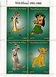 Le Roi Lion, Classique Disney et Lilo et Stitch feuille de timbres miniature pour les collectionneurs / 2014 / Tchad / 1000F