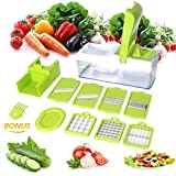 10 in 1 Gemüseschneider Multischneider Gemüsehobel Gemüse und Obst Schneider Raspeln Zerkleinen Mandoline Abnehmbar Kartoffelschneider Gemüsereibe Mandoline für Kartoffeln Tomaten