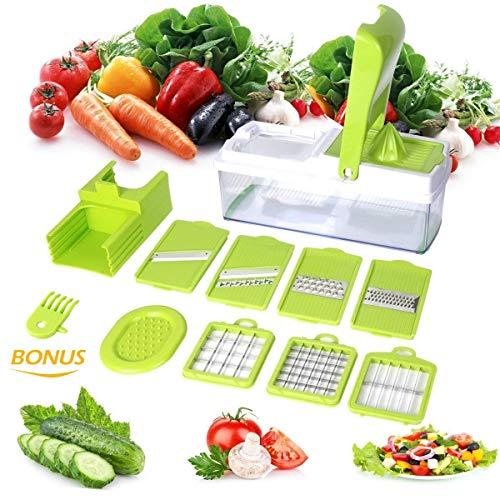 1L Picadora de Alimentos Manual Cortador de Verduras con 3 Cuchillas de Acero Inoxidable Licuadora Tirando para Picar Verduras Frutas Carne Cebolla Jengibre Ajo Ensalada(Verde) -Duomishu